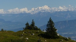 Panorama on Mont Blanc seen from the Jura Mountains