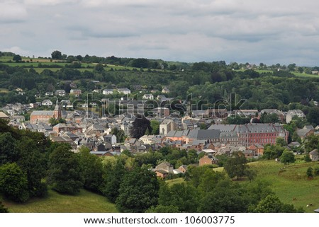 Panorama on the Belgian city Stavelot in the Ardennes