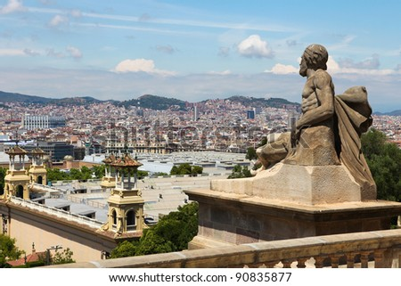 Panorama on the city of Barcelona, Spain, seen from the Palau Nacional on Montjuic - stock photo