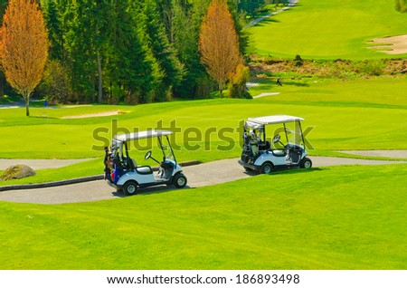 Panorama, outlook at the beautiful golf course in a sunny day with dark blue sky and clouds. Canada, Vancouver.