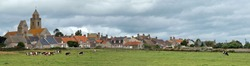 Panorama over a typical countryside village in Normandy