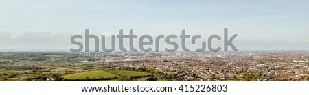 Panorama over Bristol England, captured in Dundry north view