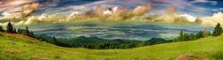 Panorama over the Sibiu city, taken at 1300 m height, Romania. Magura peak, Cindrel mountains, Sibiu county, Romania, 6 frame