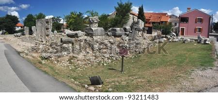 panorama photo of Roman architecture ruins in Nin, Dalmatia, Croatia.