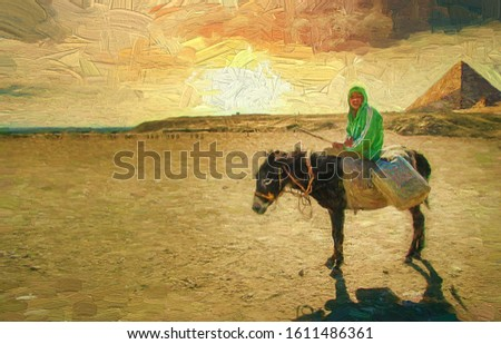 Panorama picture of Egyptian young man riding donkey carrying water tanks in the desert in evening atmosphere golden sunlight with the pyramid of Giza, Cairo, Egypt. Abstract oil painting.
