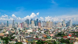 Panorama Picture of the Skyline of Makati and Manila in the Philippines