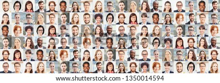 Panorama portrait collage of business people business concept #1350014594