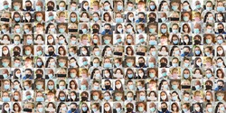 Panorama portrait collage of people with face masks in everyday life during Covid-19 pandemic