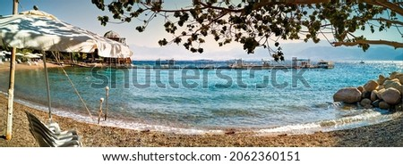 Panorama. Public sandy beach at the Red Sea
