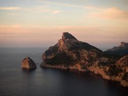Panorama rock cliff mediterranean sea landscape Mirador Es Colomer viewpoint Port de Pollenca Balearic Mallorca Spain