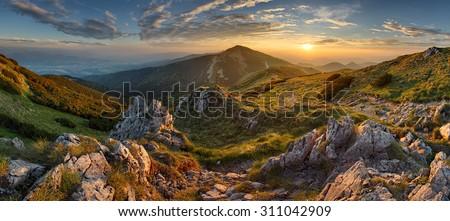 Panorama rocky mountain at sunset in Slovakia