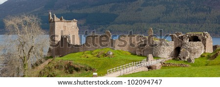 Panorama Ruins of Urquhart Castle near Loch Ness Inverness Highlands Scotland UK