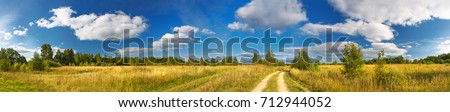 panorama rural summer landscape with a road, field and forest. summer day, blue sky with white clouds. rural path. panoramic view.