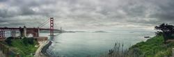 Panorama scene of Golden Gate Bridge Sanfrancisco