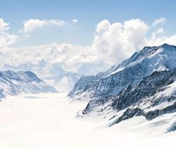 Panorama Scenic of Great Aletsch Glacier Jungfrau region,Part of Swiss Alps Alpine Snow Mountain Landscape at Switzerland.