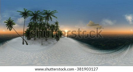 panorama 360, sea, tropical island, palm trees, sun #381903127