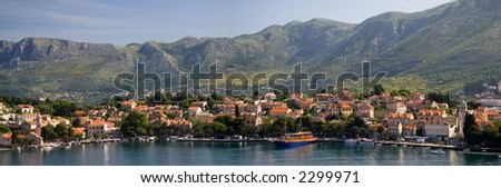 Panorama showing the croat village of Cavtat which lies on the Adriatic Sea.
