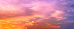 panorama sky and Cumulonimbus  cloud in bright rainbow colors and Colorful smooth sky in sunset