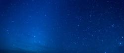 Panorama Sky and Stars, Long exposure photograph, with grain and select white balance.Night sky.
