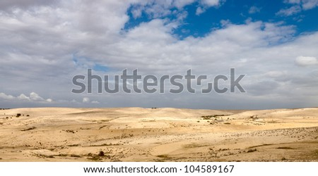 Panorama sky with a clouds over a desert