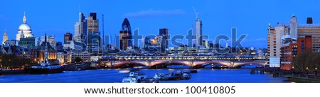 Panorama St. Paul Cathedral and Skylines From Waterloo Bridge along River Thames in London England United Kingdom - stock photo
