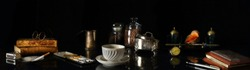 Panorama still life with a porcelain Cup of coffee surrounded by Antiques in the style of the old Dutch artists