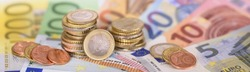 panorama still of Euro  banknotes and coins of european currency