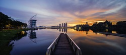 Panorama sunrise of Putrajaya Lakeside
