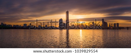 Panorama,Sunset 63 building at Seoul city and Downtown skyline in Seoul, South Korea. #1039829554