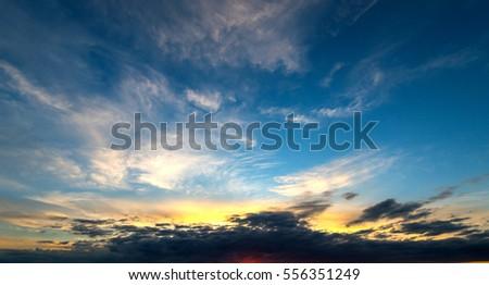panorama Sunset cloud sky on dark background #556351249