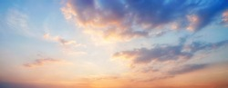 Panorama sunset sky and cloud background