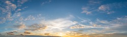 Panorama sunset sky for background or sunrise sky and cloud at morning.