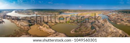 Panorama Top view Aerial photo from flying drone over  Grand canyon of Thailand / stone mountain at Sam Phan Bok,Ubonratchathani province,Thailand. #1049560301