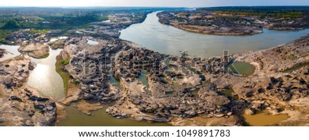 Panorama Top view Aerial photo from flying drone over Grand canyon of Thailand / stone mountain at Sam Phan Bok,Ubonratchathani province,Thailand. #1049891783