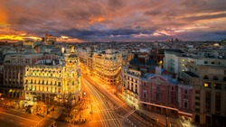 Panorama top view of Gran Via, main shopping street in Madrid from roof top bar, capital of Spain, Europe.