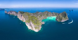Panorama Top View Tropical Island , Aerial view of Maya bay ,Phi-Phi Islands, Krabi, Thailand.