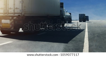 Panorama.Truck on highway road with container, transportation concept.,import,export logistic industrial Transporting Land transport on the expressway.motion blurred to soft focus #1059077117