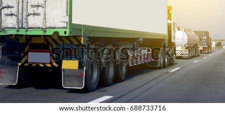 Panorama.Truck on road container, transportation concept.Transporting Land transport.Gas or oil truck on expressway