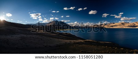 Panorama Tso Moriri Wetland Conservation Reserve, Himalayan mountain lake, Korzok Changthang area, Leh, Ladakh, Jammu and Kashmir, India.The lake is at an altitude of 4 595 m; largest high altitude