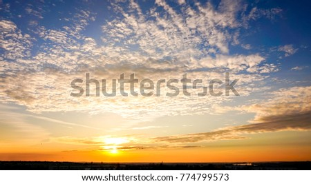 Panorama twilight morning sky and cloud with sunrise Surartthani Thailand #774799573