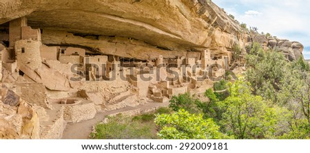 Panorama View at the Cliff Palace in Mesa Verde Stock photo ©