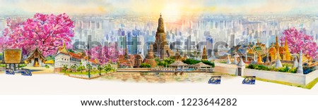 Panorama view famous landmarks Bangkok and Chiang mai in Thailand. Watercolor painting landscape of tourism location beautiful in skyscraper and sun background. Painted illustration, landmark of Asia.