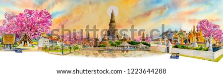 Panorama view famous landmarks Bangkok and Chiang mai in Thailand. Watercolor painting landscape of tourism location beautiful in sky and sun background. Painted illustration, landmark of Asia.