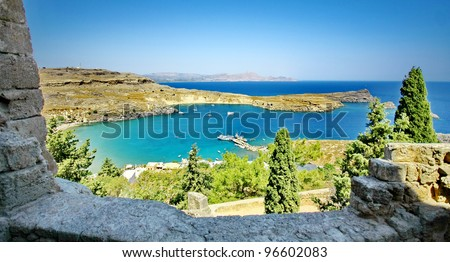Panorama view from Acropolis of Lindos, Rhodes island, Greece