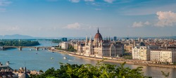 Panorama view from Buda at the parliament with Danube river in Budapest