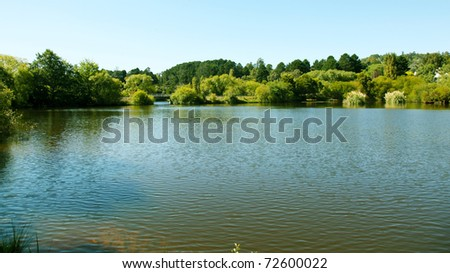 Panorama view from lake - stock photo