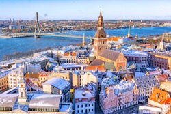 Panorama view from Riga cathedral on old town of Riga at sunny winter day, Latvia