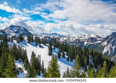 Panorama view from Tegelberg to the Alps landscape. Sunny spring day, snow covered mountains, blue sky, sunshine (Schwangau, Ostallgäu, Allgäu, Allgau, Bavaria, Germany) #1434996245