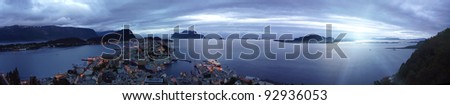 panorama view  from the mountain Aksla at the city of Alesund , Norway. White night time  shoot