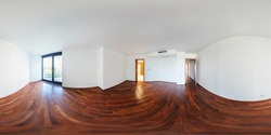 Panorama 360 view in modern white empty loft apartment interior of living room hall, full  seamless 360 degrees angle view panorama in equirectangular spherical equidistant projection. VR AR content